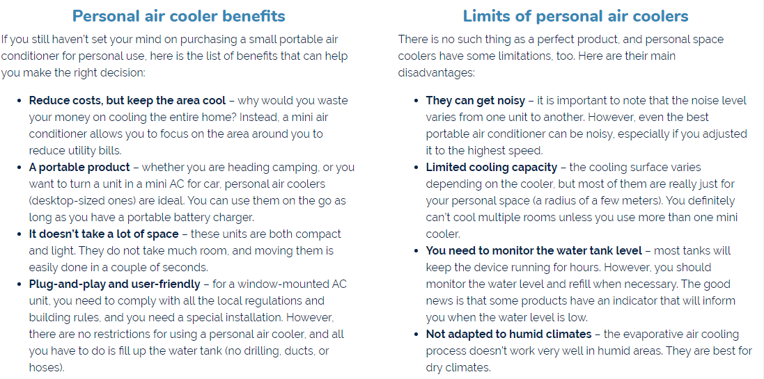 Limits of personal air coolers